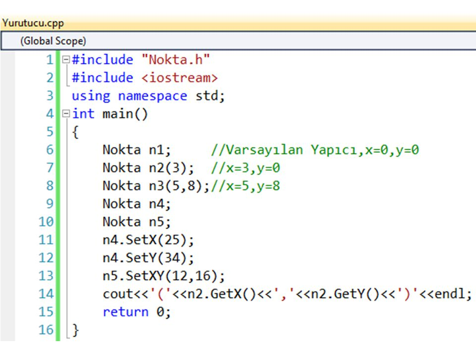 #include Nokta.h #include <iostream> using namespace std; int main() { Nokta n1; //Varsayılan Yapıcı,x=0,y=0.