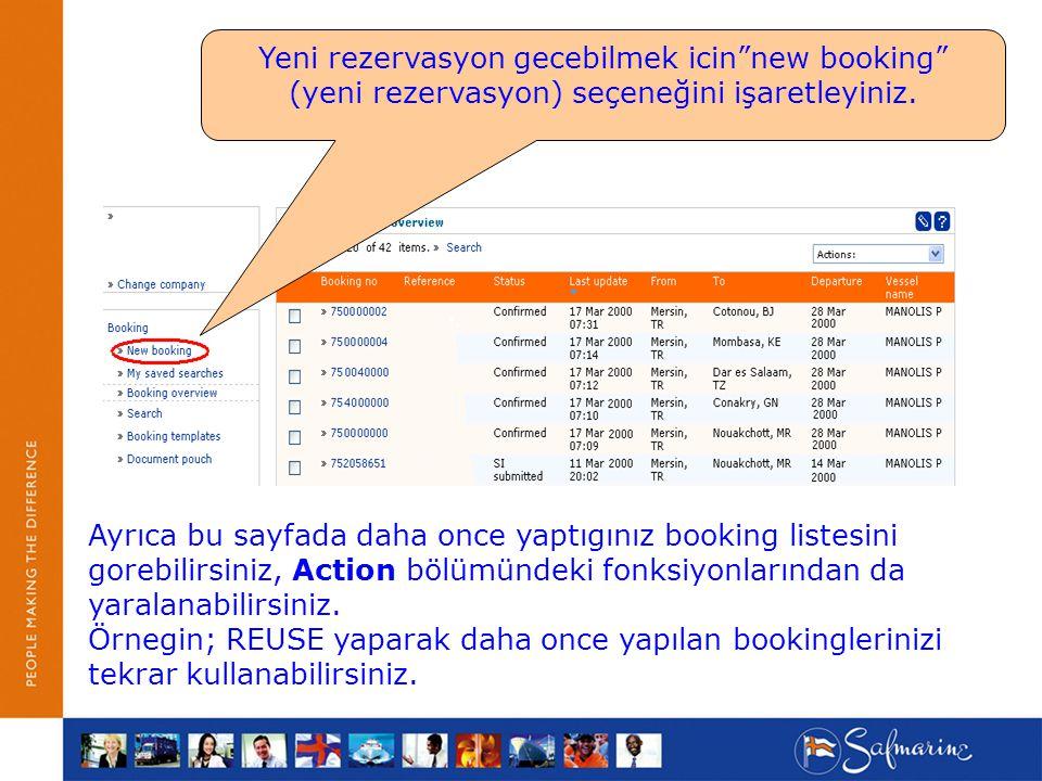 Yeni rezervasyon gecebilmek icin new booking