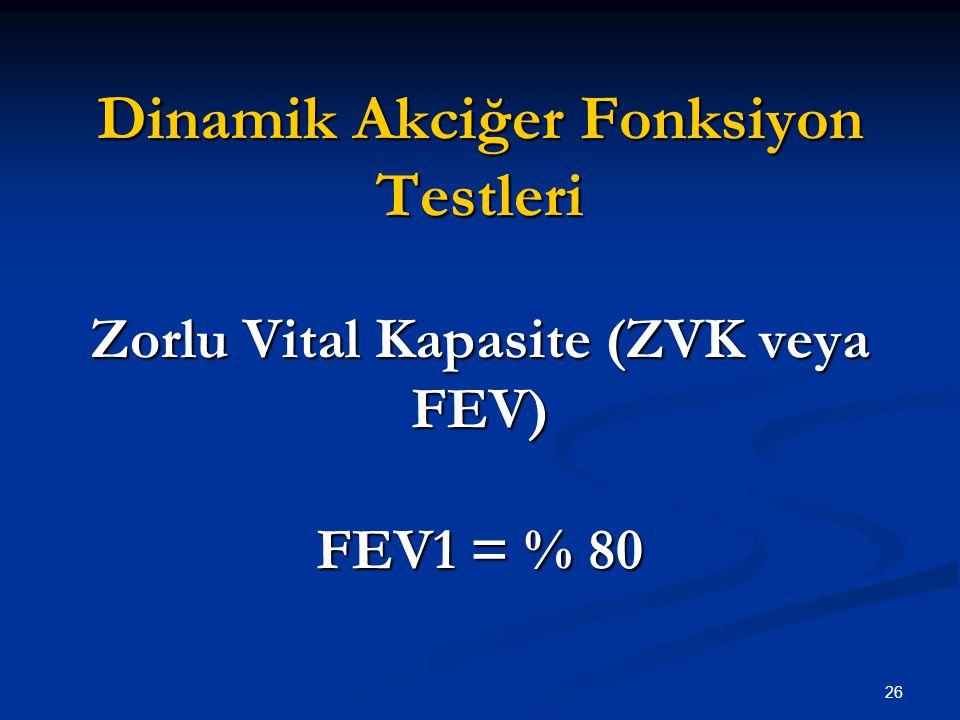 Dinamik Akciğer Fonksiyon Testleri Zorlu Vital Kapasite (ZVK veya FEV) FEV1 = % 80