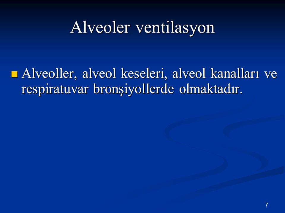 Alveoler ventilasyon Alveoller, alveol keseleri, alveol kanalları ve respiratuvar bronşiyollerde olmaktadır.