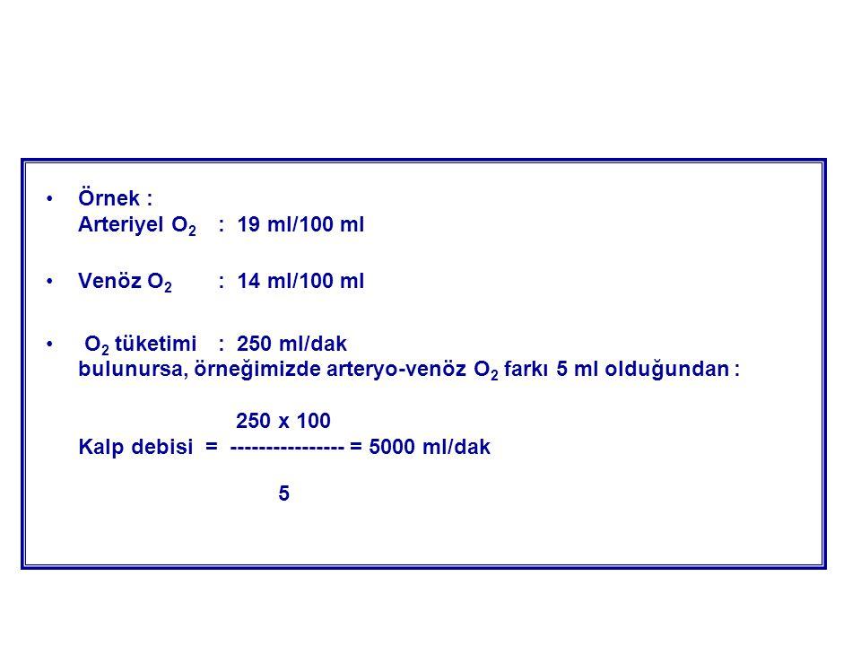 Örnek : Arteriyel O2 : 19 ml/100 ml