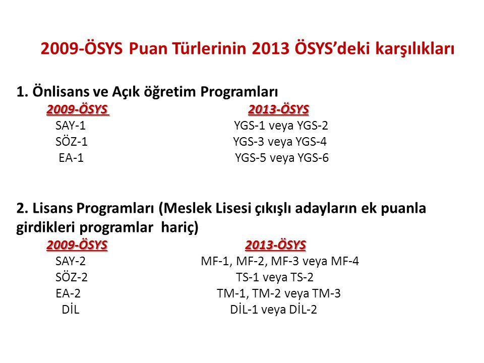 2009-ÖSYS Puan Türlerinin 2013 ÖSYS'deki karşılıkları