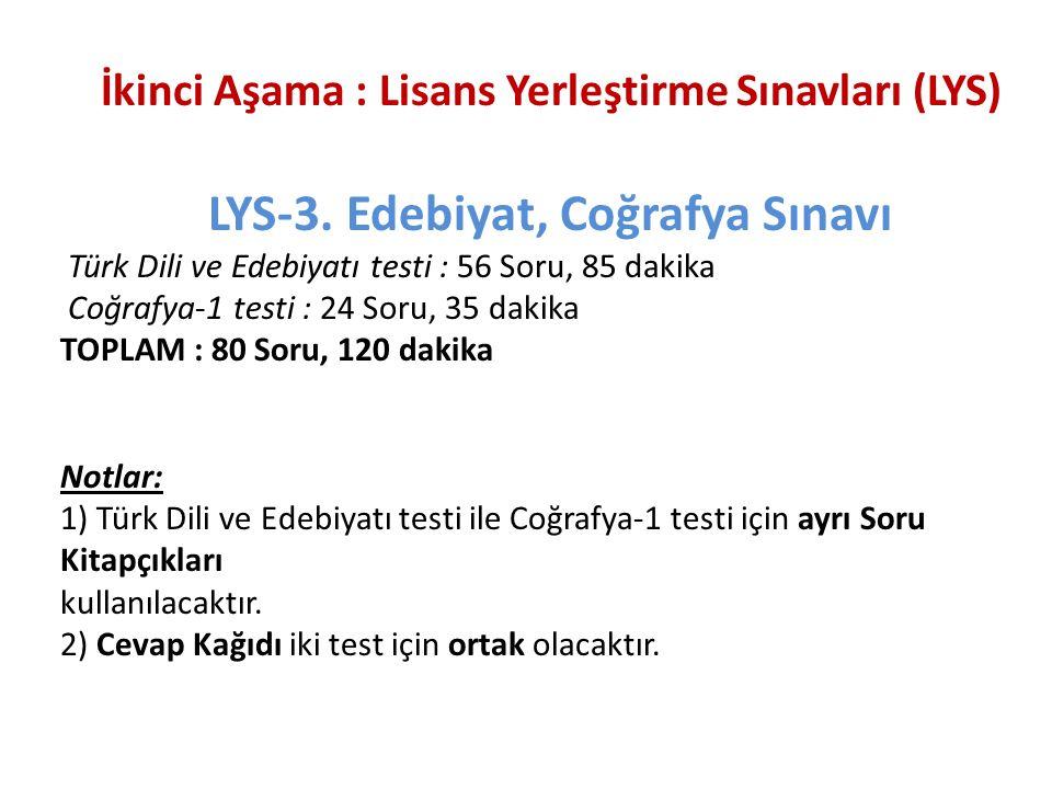LYS-3. Edebiyat, Coğrafya Sınavı