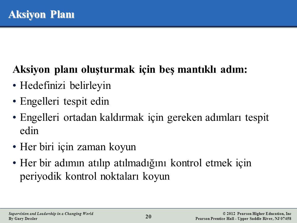 Aksiyon Planı Aksiyon planı oluşturmak için beş mantıklı adım: Hedefinizi belirleyin. Engelleri tespit edin.