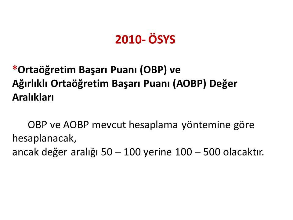2010- ÖSYS *Ortaöğretim Başarı Puanı (OBP) ve