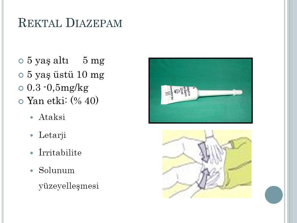 Rektal Diazepam 5 yaş altı 5 mg 5 yaş üstü 10 mg 0.3 -0,5mg/kg