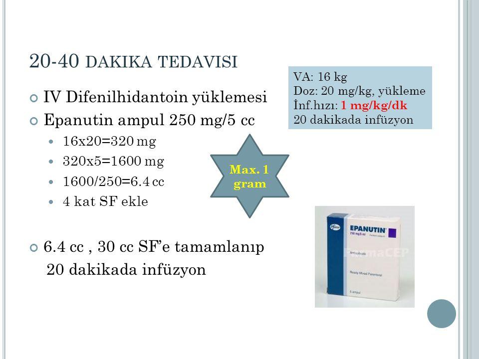 20-40 dakika tedavisi IV Difenilhidantoin yüklemesi