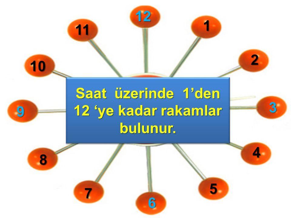 Saat üzerinde 1'den 12 'ye kadar rakamlar bulunur.
