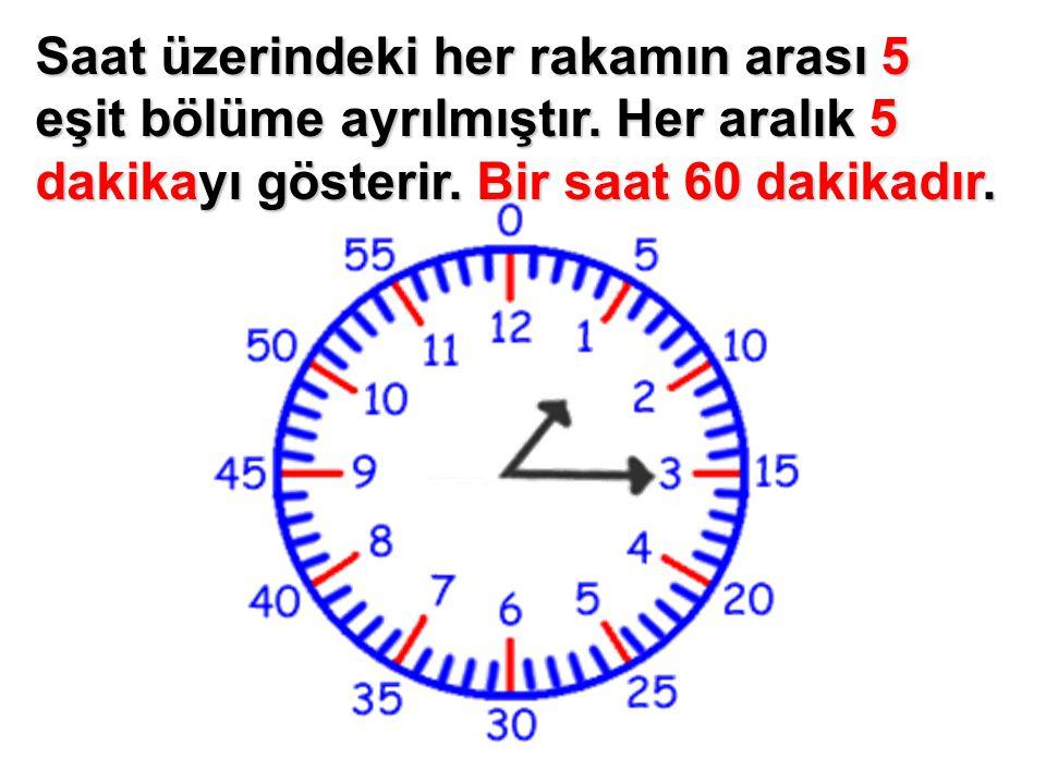 Saat üzerindeki her rakamın arası 5 eşit bölüme ayrılmıştır