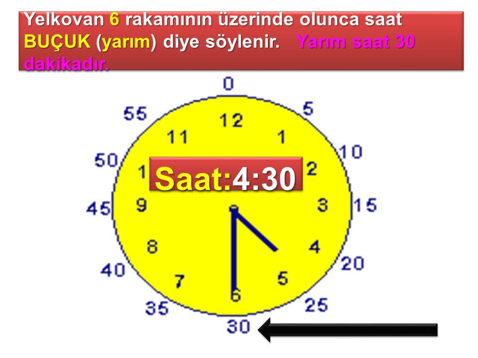 Yelkovan 6 rakamının üzerinde olunca saat BUÇUK (yarım) diye söylenir