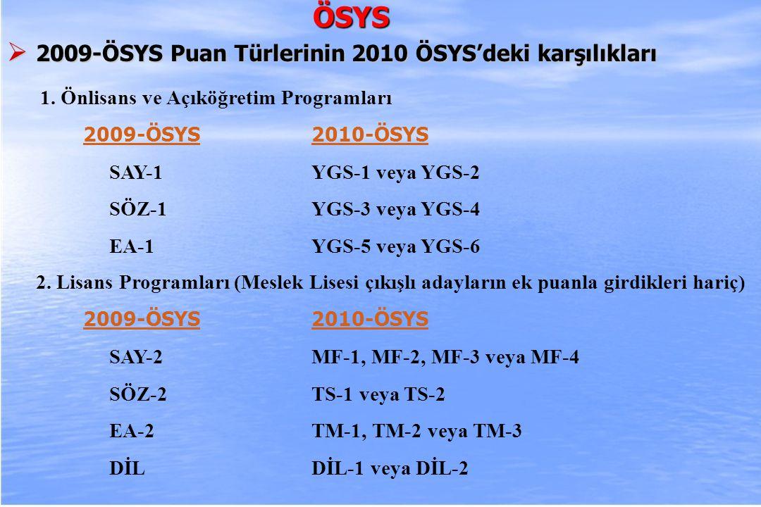 ÖSYS 2009-ÖSYS Puan Türlerinin 2010 ÖSYS'deki karşılıkları