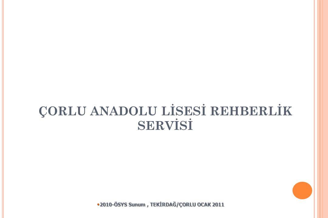 ÇORLU ANADOLU LİSESİ REHBERLİK SERVİSİ