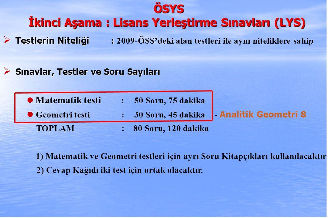 İkinci Aşama : Lisans Yerleştirme Sınavları (LYS)