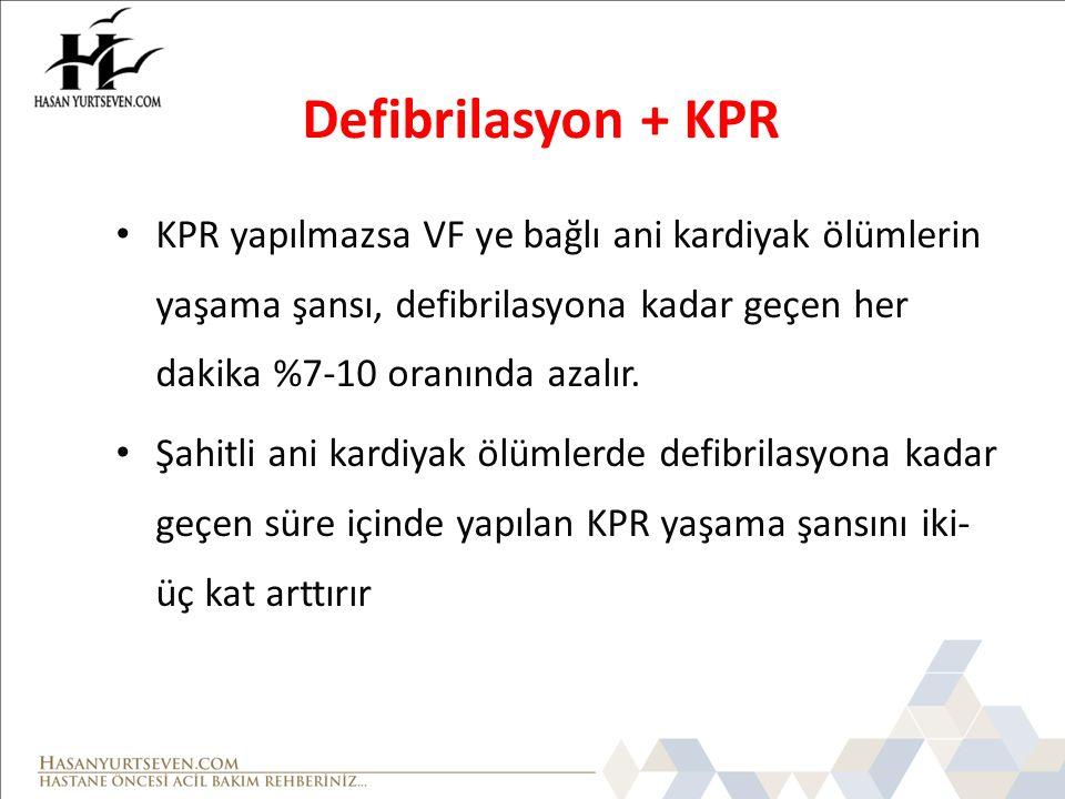 Defibrilasyon + KPR KPR yapılmazsa VF ye bağlı ani kardiyak ölümlerin yaşama şansı, defibrilasyona kadar geçen her dakika %7-10 oranında azalır.