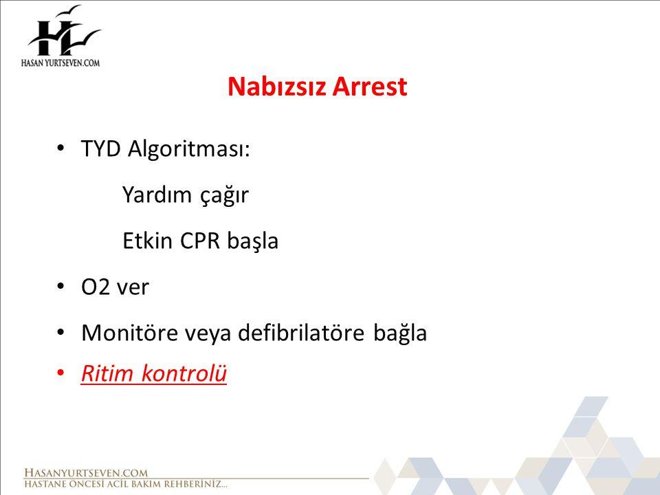 Nabızsız Arrest TYD Algoritması: Yardım çağır Etkin CPR başla O2 ver