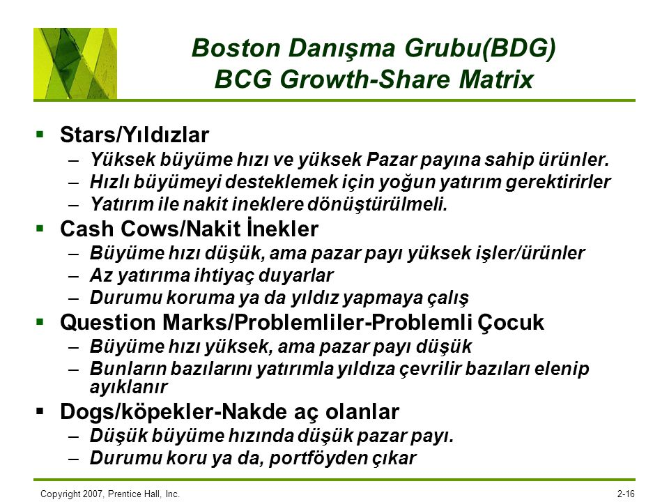 Boston Danışma Grubu(BDG) BCG Growth-Share Matrix