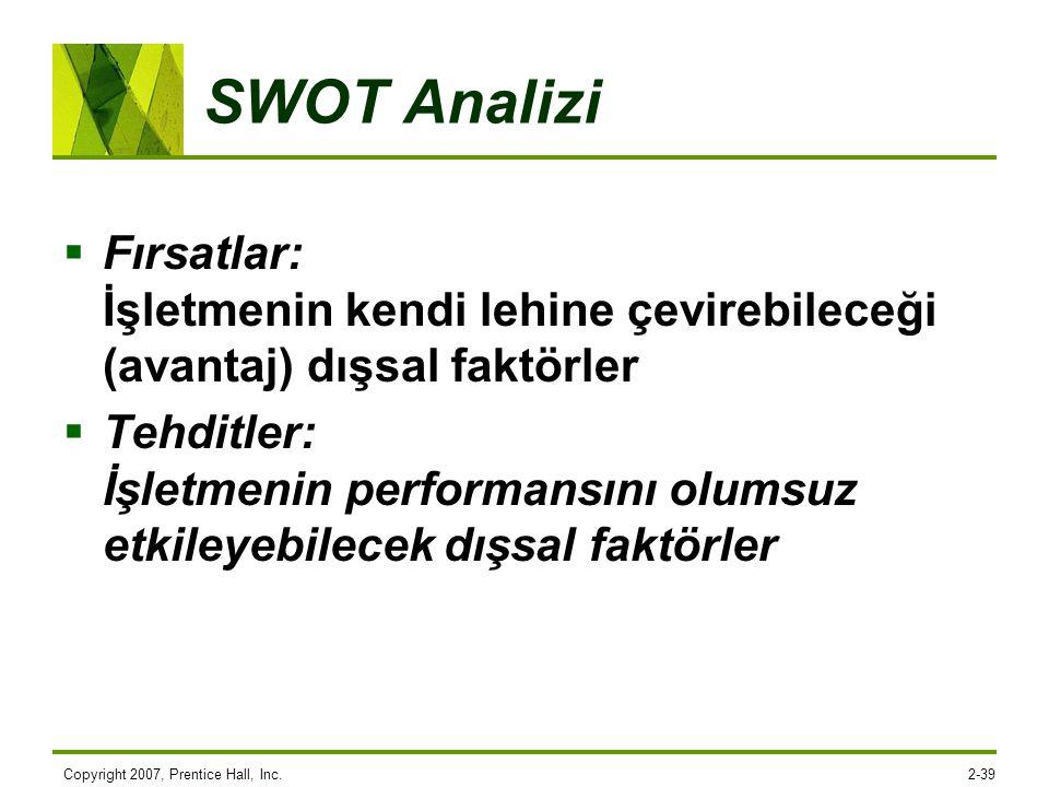 SWOT Analizi Fırsatlar: İşletmenin kendi lehine çevirebileceği (avantaj) dışsal faktörler.