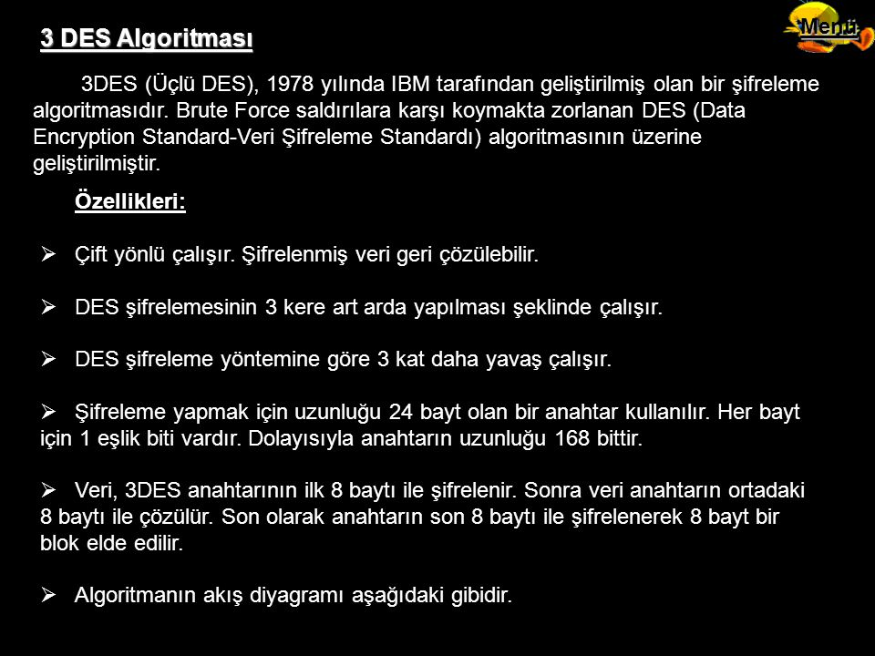Menü 3 DES Algoritması.