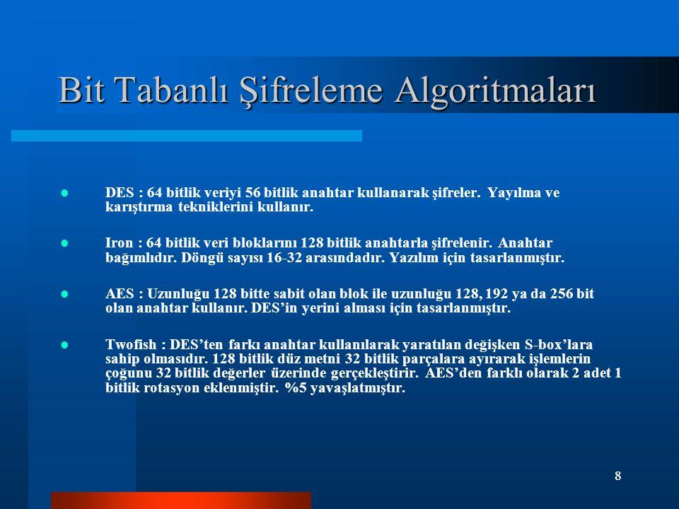 Bit Tabanlı Şifreleme Algoritmaları