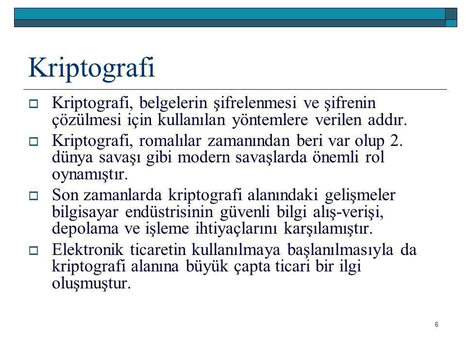 Kriptografi Kriptografi, belgelerin şifrelenmesi ve şifrenin çözülmesi için kullanılan yöntemlere verilen addır.