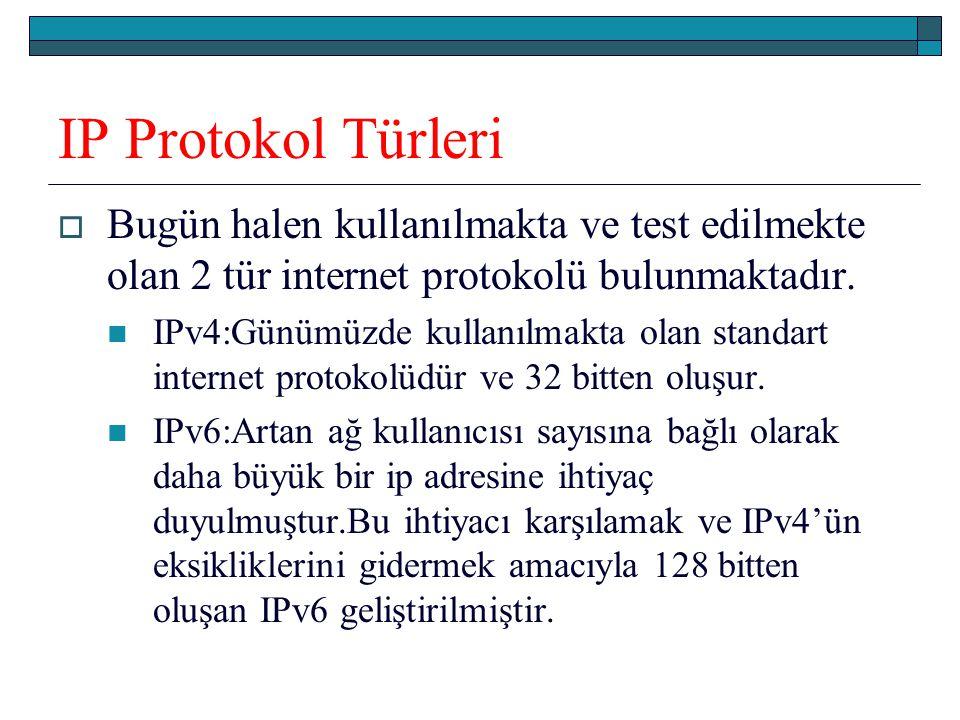 IP Protokol Türleri Bugün halen kullanılmakta ve test edilmekte olan 2 tür internet protokolü bulunmaktadır.