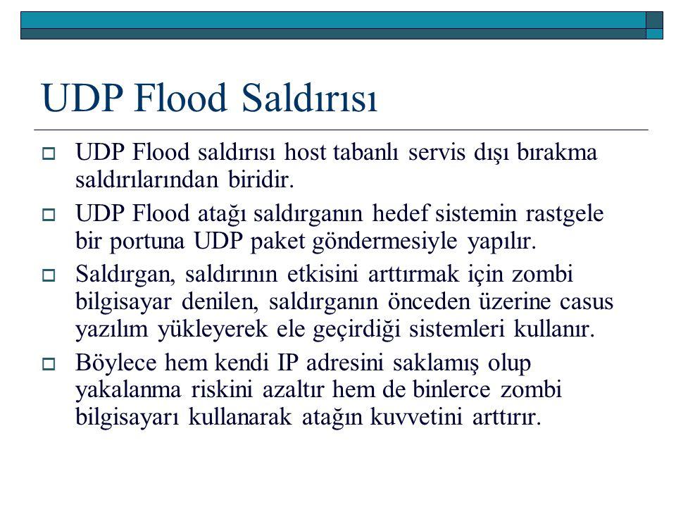 UDP Flood Saldırısı UDP Flood saldırısı host tabanlı servis dışı bırakma saldırılarından biridir.