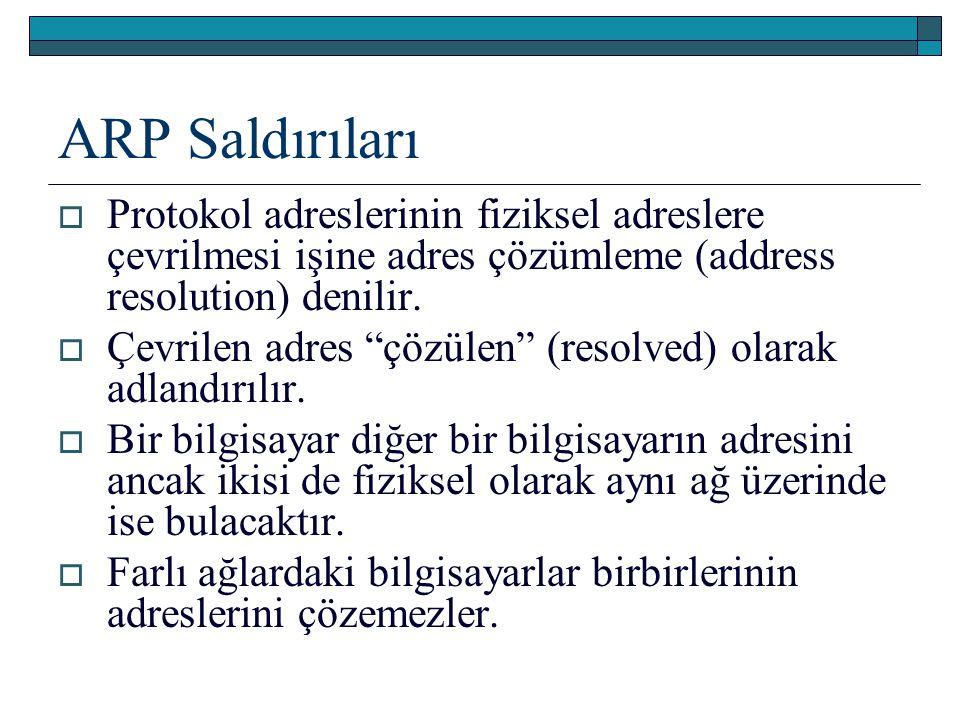 ARP Saldırıları Protokol adreslerinin fiziksel adreslere çevrilmesi işine adres çözümleme (address resolution) denilir.
