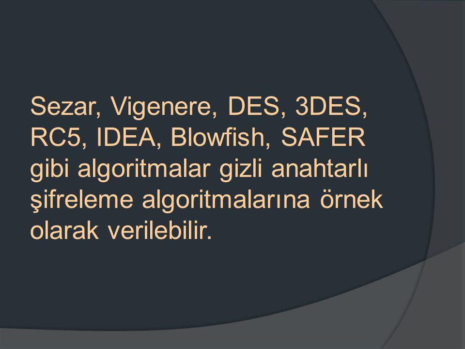 Sezar, Vigenere, DES, 3DES, RC5, IDEA, Blowfish, SAFER gibi algoritmalar gizli anahtarlı şifreleme algoritmalarına örnek olarak verilebilir.