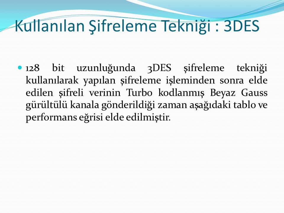 Kullanılan Şifreleme Tekniği : 3DES