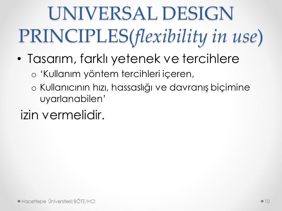 UNIVERSAL DESIGN PRINCIPLES(flexibility in use)