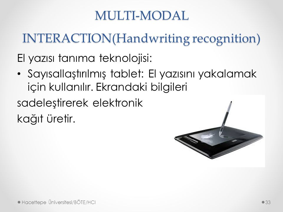 MULTI-MODAL INTERACTION(Handwriting recognition)