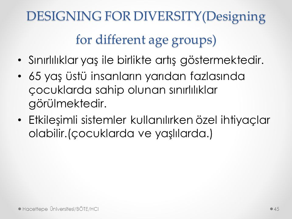 DESIGNING FOR DIVERSITY(Designing for different age groups)