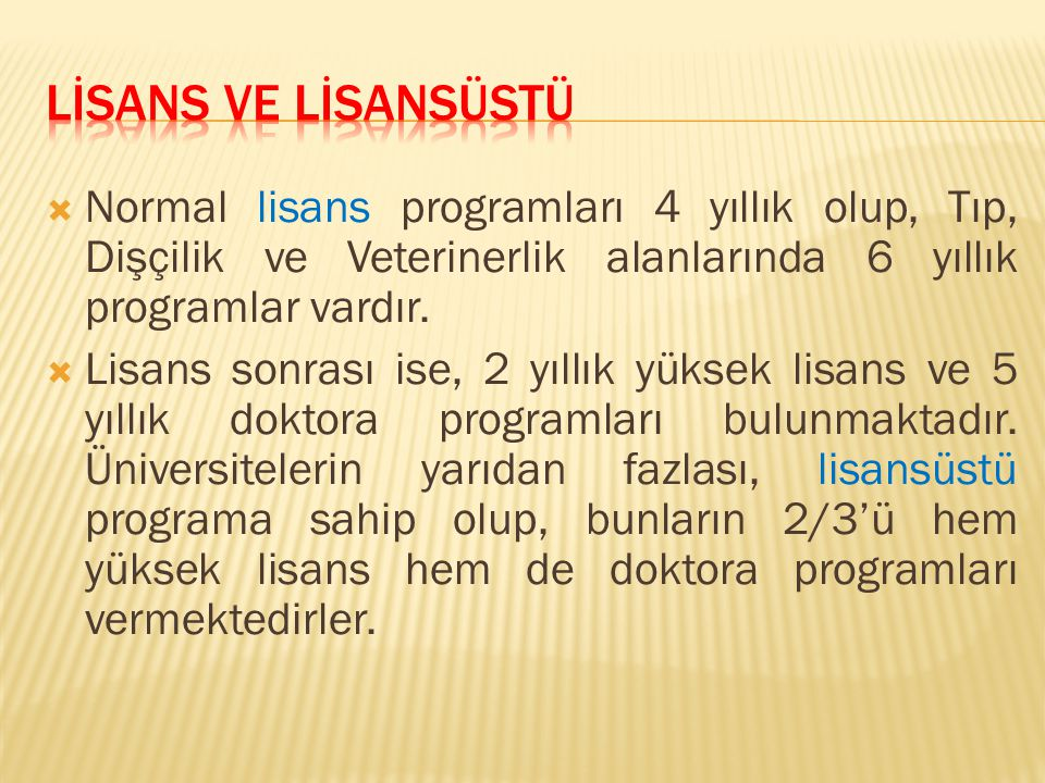 LİSANS VE LİSANSÜSTÜ Normal lisans programları 4 yıllık olup, Tıp, Dişçilik ve Veterinerlik alanlarında 6 yıllık programlar vardır.