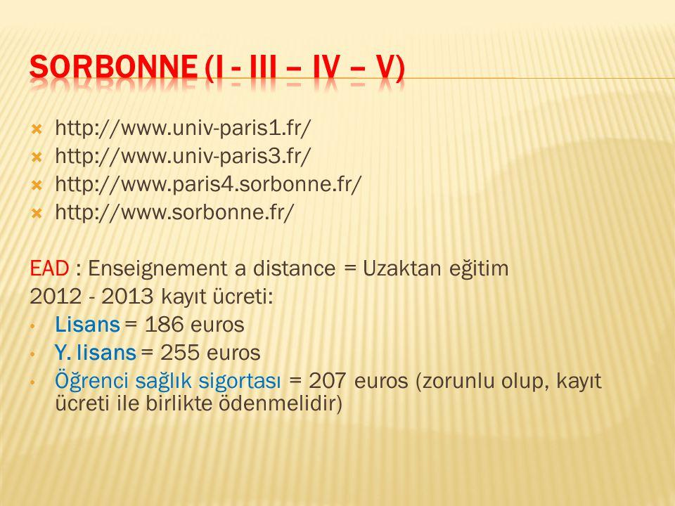 SORBONNE (I - III – IV – V)