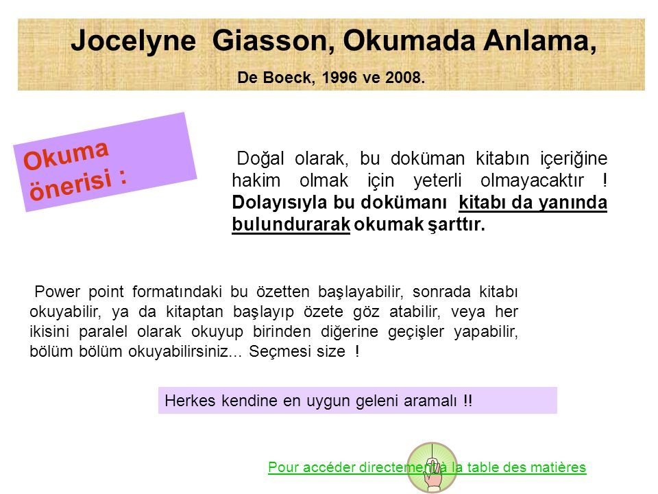 Jocelyne Giasson, Okumada Anlama,