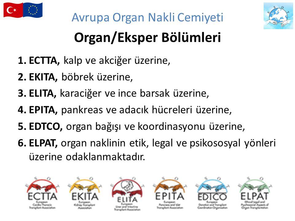 Avrupa Organ Nakli Cemiyeti Organ/Eksper Bölümleri