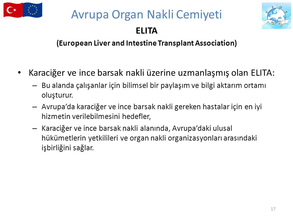 Avrupa Organ Nakli Cemiyeti ELITA (European Liver and Intestine Transplant Association)