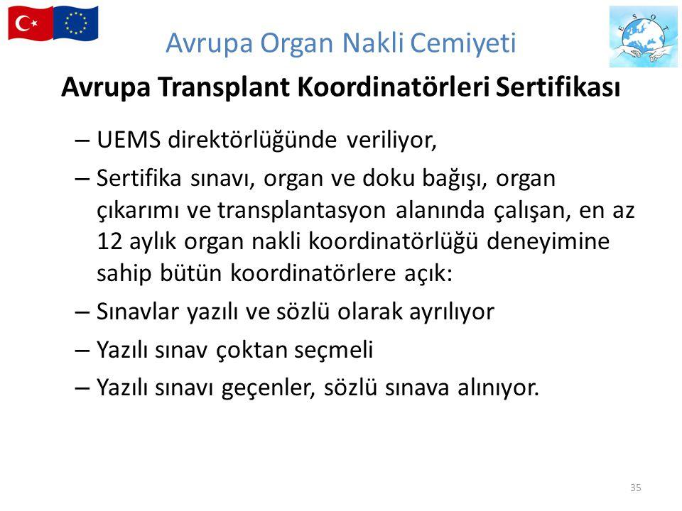 Avrupa Organ Nakli Cemiyeti Avrupa Transplant Koordinatörleri Sertifikası