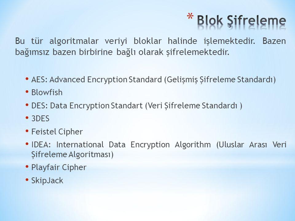 Blok Şifreleme Bu tür algoritmalar veriyi bloklar halinde işlemektedir. Bazen bağımsız bazen birbirine bağlı olarak şifrelemektedir.