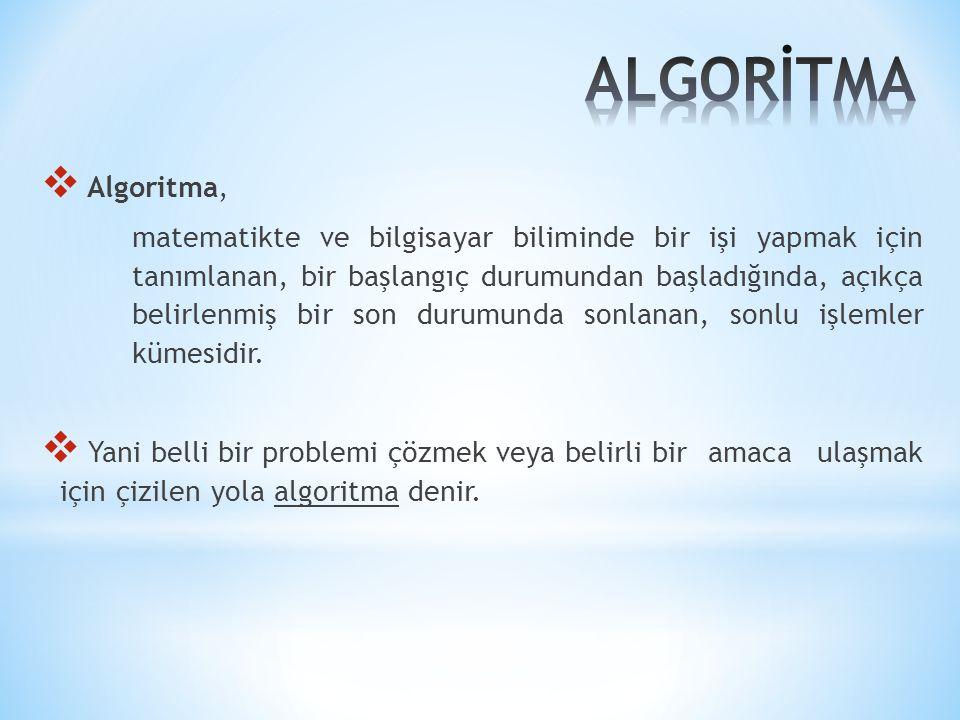 ALGORİTMA Algoritma,