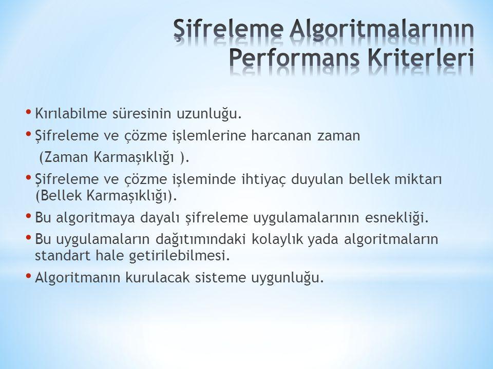 Şifreleme Algoritmalarının Performans Kriterleri