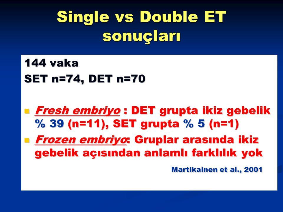 Single vs Double ET sonuçları