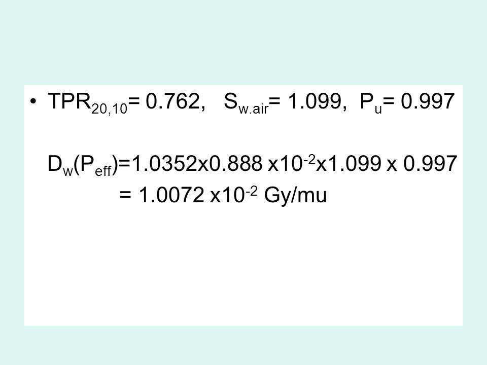 TPR20,10= 0.762, Sw.air= 1.099, Pu= 0.997 Dw(Peff)=1.0352x0.888 x10-2x1.099 x 0.997.