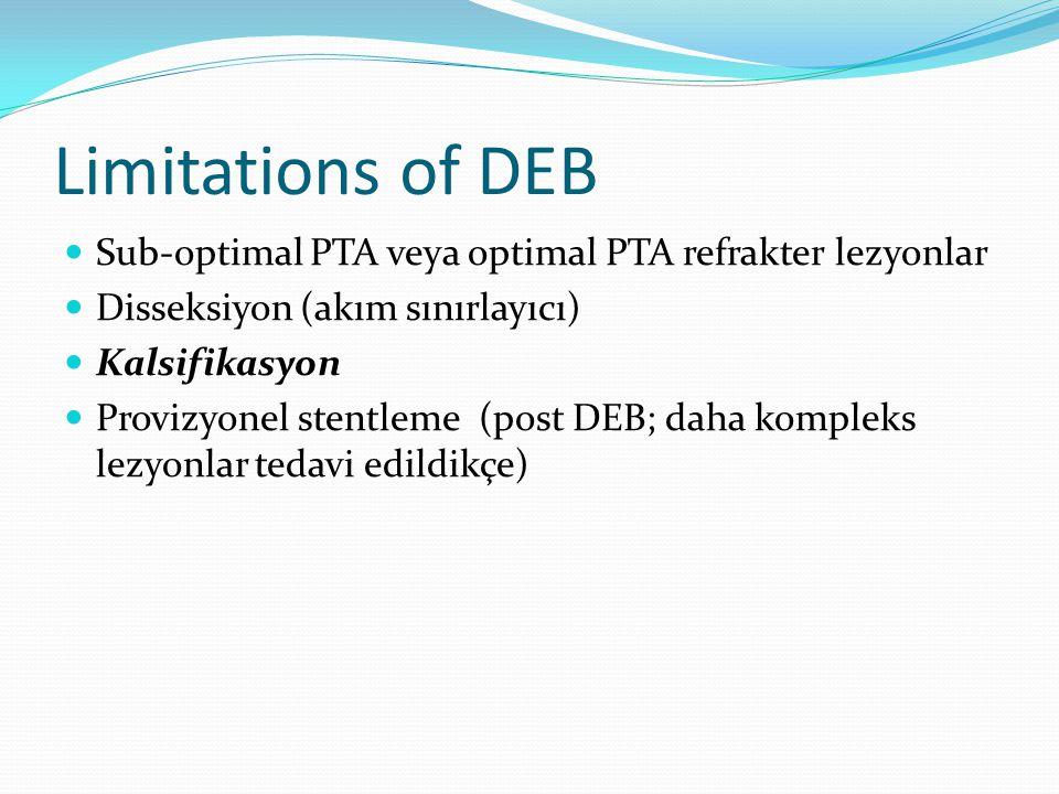 Limitations of DEB Sub-optimal PTA veya optimal PTA refrakter lezyonlar. Disseksiyon (akım sınırlayıcı)