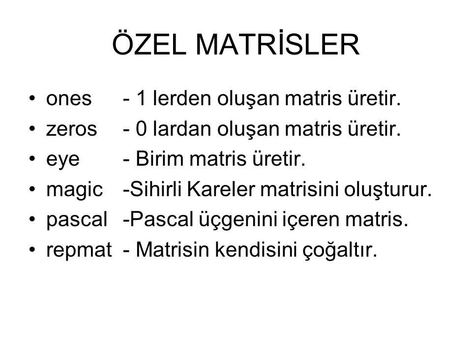 ÖZEL MATRİSLER ones - 1 lerden oluşan matris üretir.