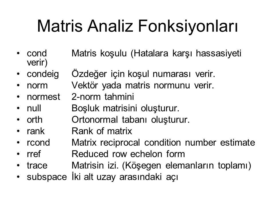 Matris Analiz Fonksiyonları