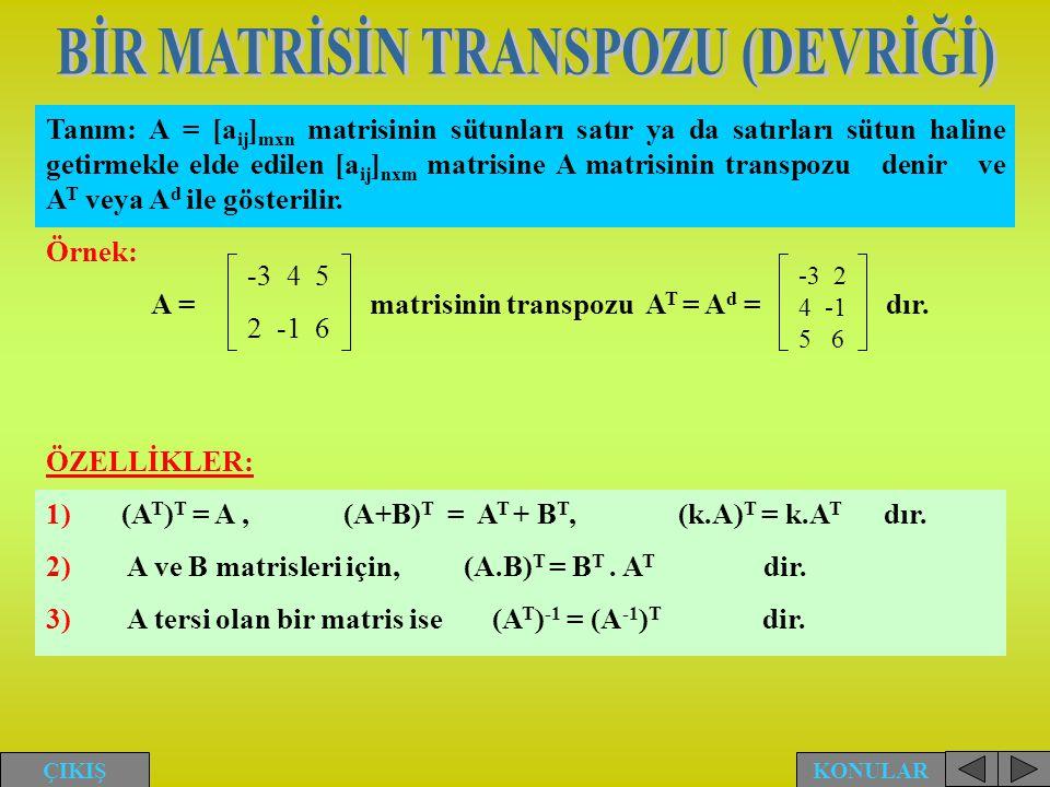 BİR MATRİSİN TRANSPOZU (DEVRİĞİ)