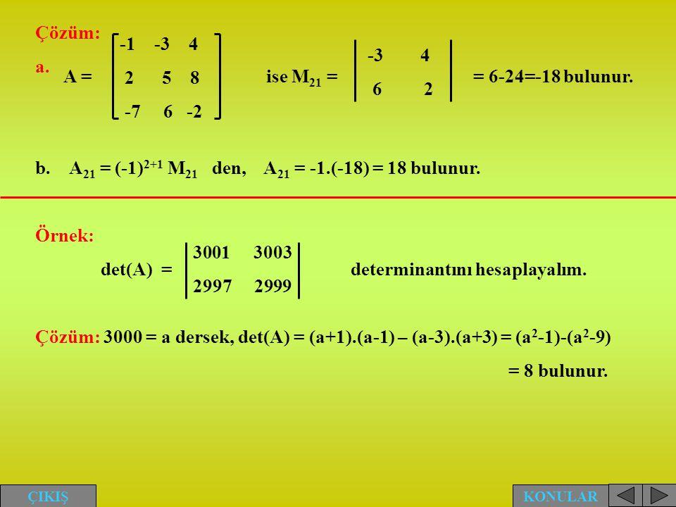 A21 = (-1)2+1 M21 den, A21 = -1.(-18) = 18 bulunur.