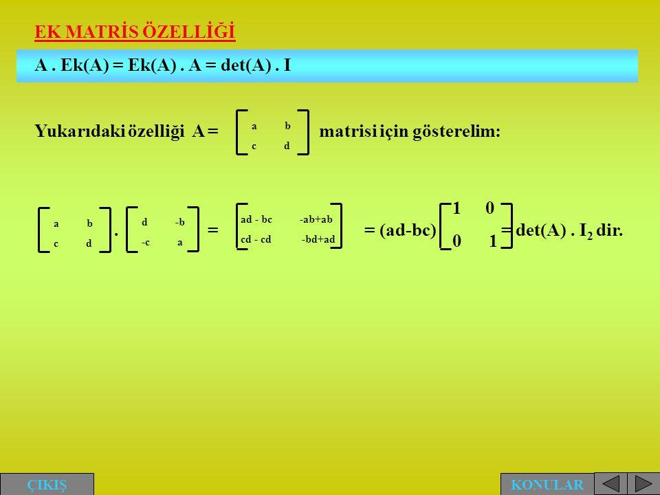 A . Ek(A) = Ek(A) . A = det(A) . I