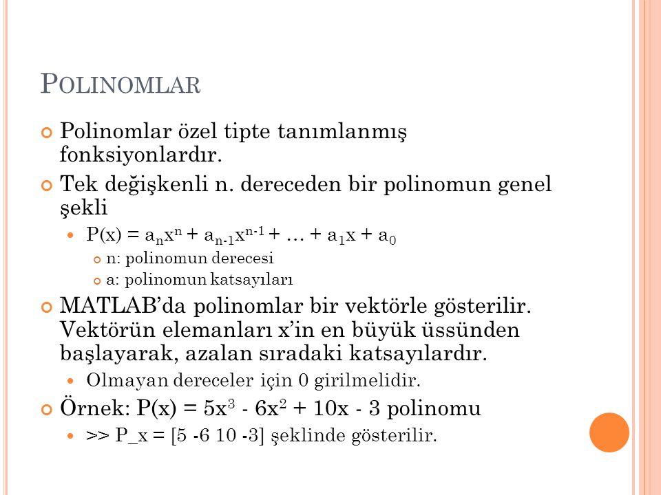 Polinomlar Polinomlar özel tipte tanımlanmış fonksiyonlardır.